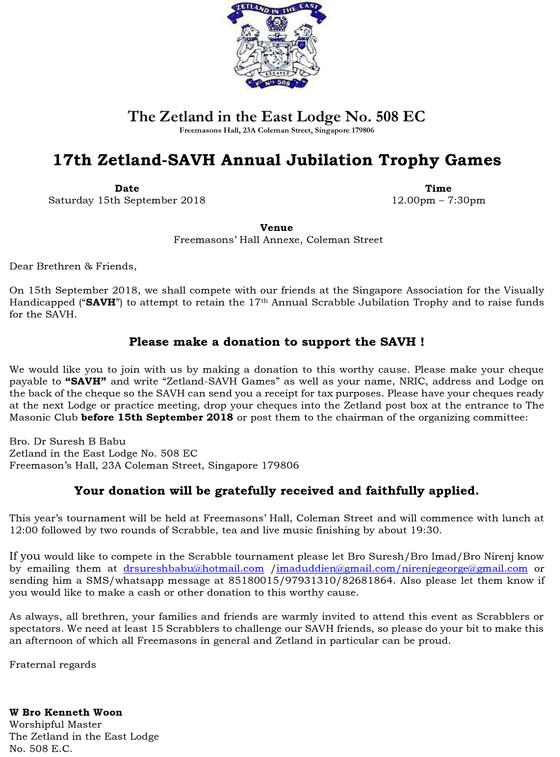 17th Zetland-SAVH Annual Jubilation Trophy Games