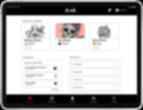 artist crm dashboard for tablet UI