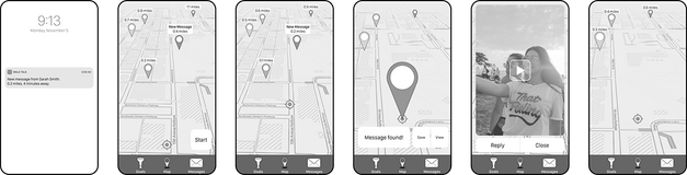 wireframe of finding a message flow