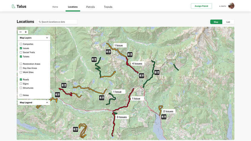 Map interface for accessing actionable trail data