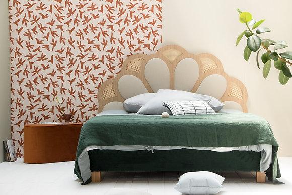 Tête de lit bois et tissu structuré beige