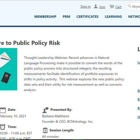 Measuring Policy Risk: PRMIA webinar