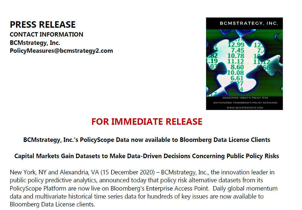 Press release on Bloomberg making PolicyScope data available to capital markets
