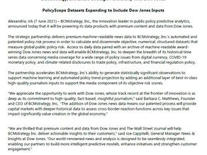 Strategic Partnership Announcement -- Dow Jones