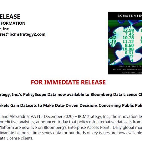 PolicyScope Data Now On Bloomberg