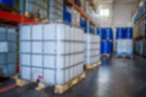 White plastic barrel. Barrel on a pallet