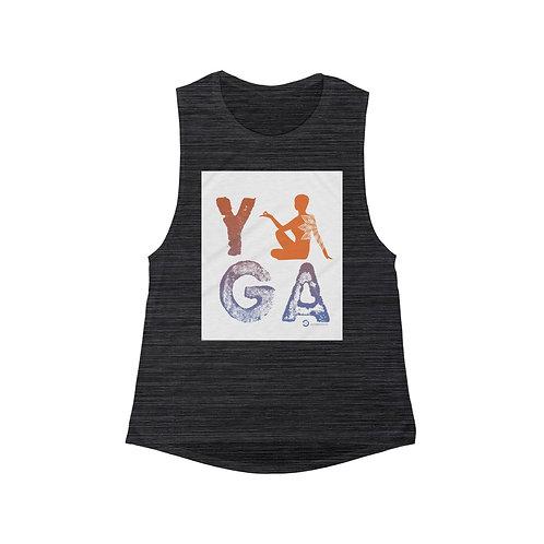 RKAS YOGA Orange Women's Flowy Scoop Muscle Tank