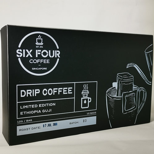 Coffee Drip Bag, Ethiopia Guji, 10 bags/box, by Six Four Coffee