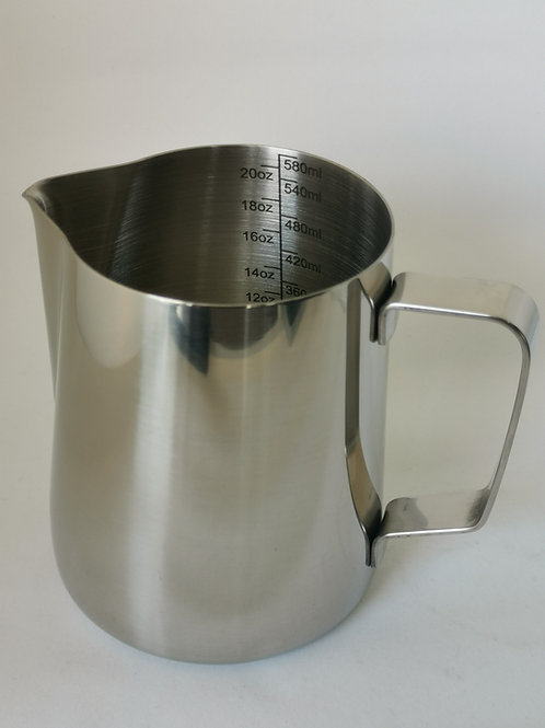Stainless Steel Milk Pitcher with Measuring Indicator, 600ml (20oz)