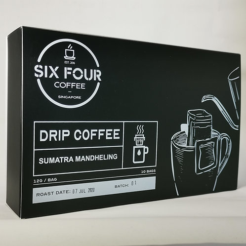 Drip Bag Coffee, Sumatra Mandheling, 10 bags/box, by Six Four Coffee