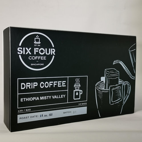 Drip Bag Coffee, Ethiopia Misty Valley, 10 bags/box, by Six Four Coffee