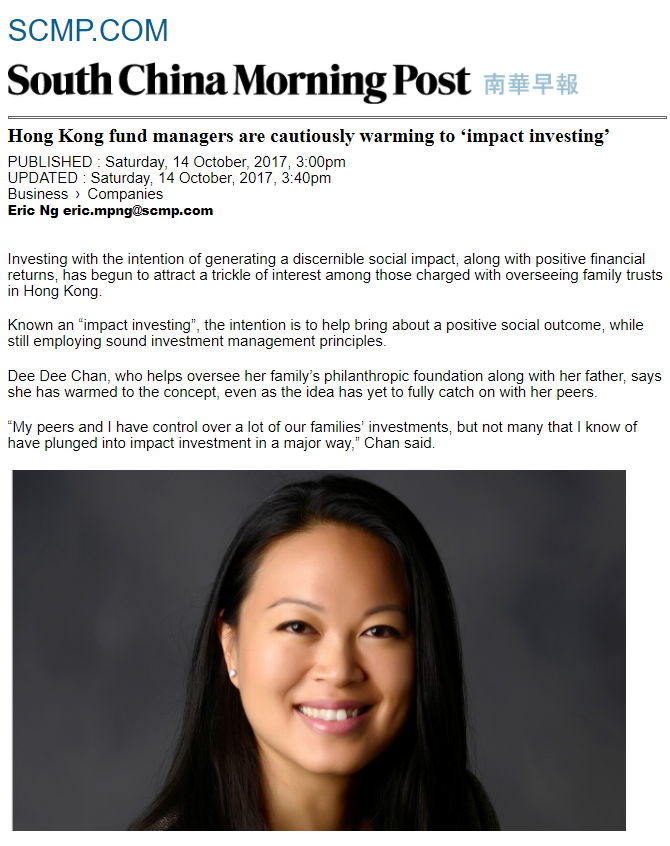 Dee Dee Chan Shares Views on Impact Investing in South China Morning Post