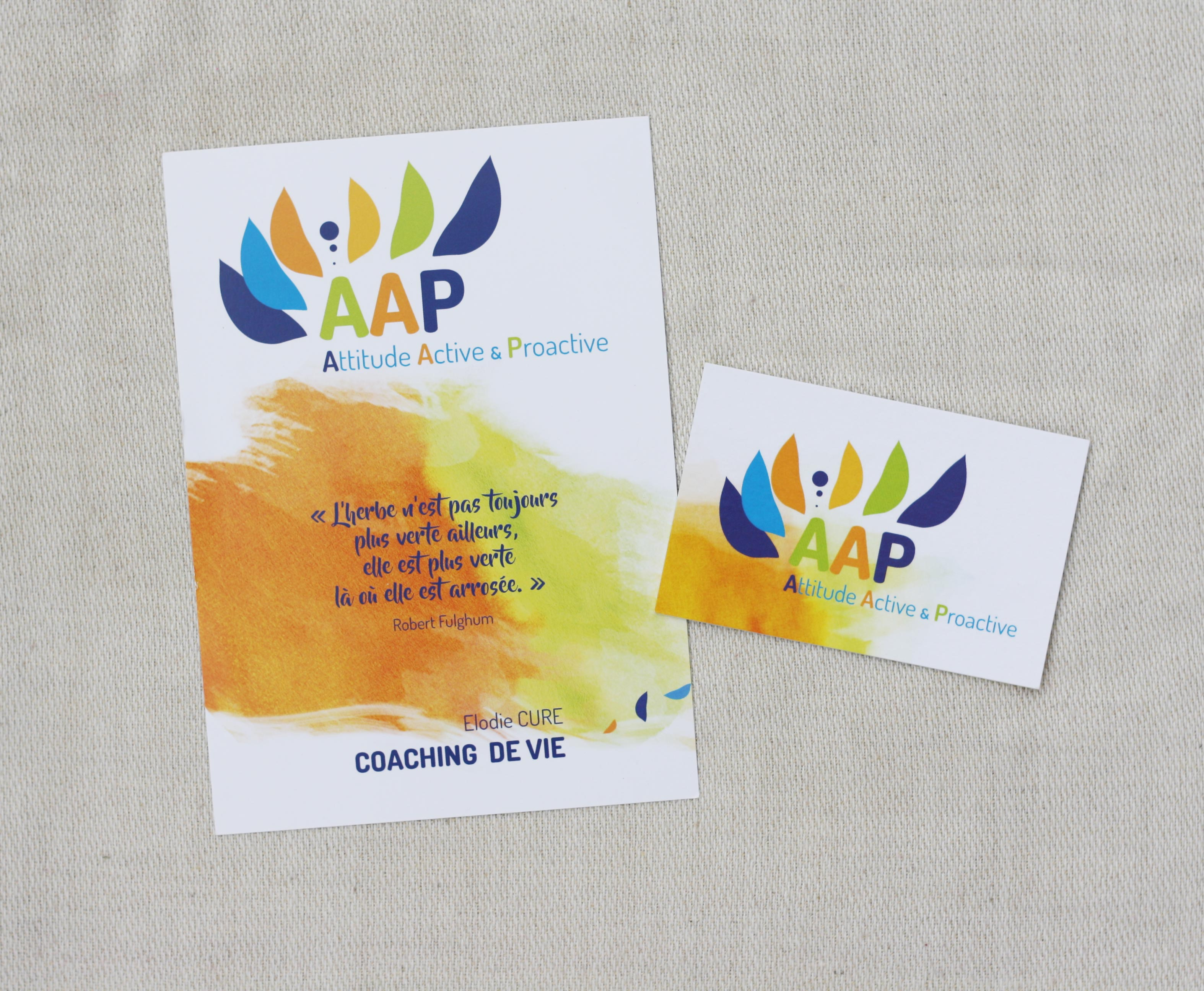 Creation Du Logo AAP Caoching Decline Sur Flyer Carte De Visite Enseigne