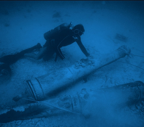 Diver with Atocha Cannons, 1975