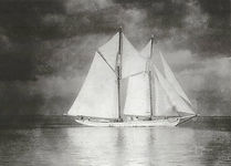 The turtling schooner A.M Adams under sail ca. 1940.