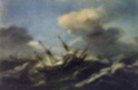 Navios en una tormenta. Claes Wou, ca. 1630. Colección Real, Museo Nacional del Prado, Madrid.