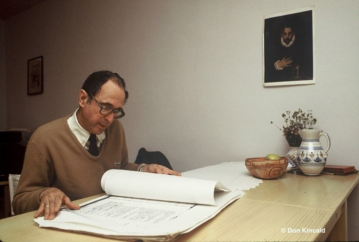 Dr. Eugene Lyon Examines Spanish Archival Documents