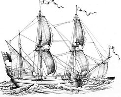 Drawing of the Henrietta Marie under sail.