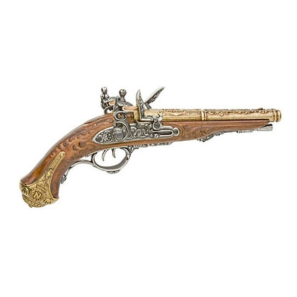 PISTOL: FRENCH DOUBLE BARREL FLINTLOCK