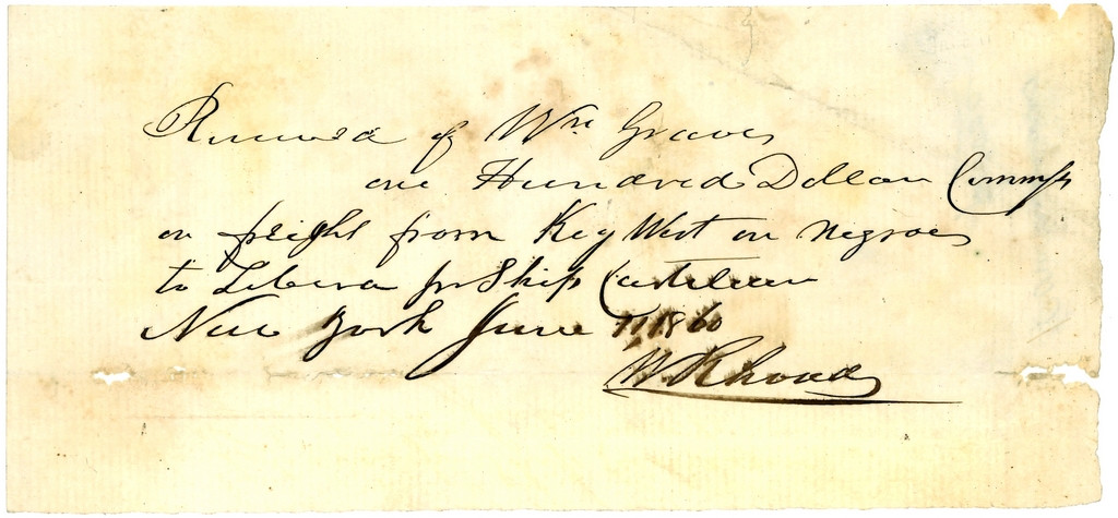 Receipt from Ship Castilian, Carrying Africans from Key West to Liberia