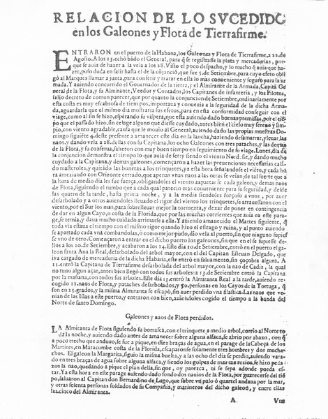 Spanish News Broadside Telling of the 1622 Disaster