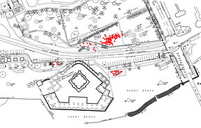 Red dots show the locations of graves in Higgs Beach Park.