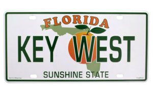 KEY WEST FLORIDA LICENSE PLATE