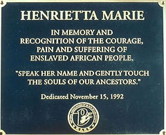 The inscribed plaque of the NABS Henrietta Marie monument.