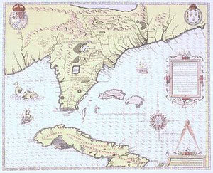 FLORIDA, CUBA AND THE BAHAMAS MAP 1654