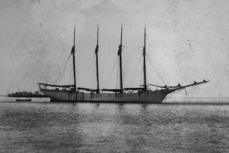 The Four-Masted Schooner Marie J. Thompson at Anchor in Key West Harbor.