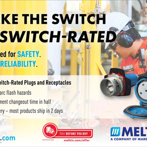 Reduce Changeout Downtime by up to 50% With Meltric's Switch-Rated Plugs and Receptacles