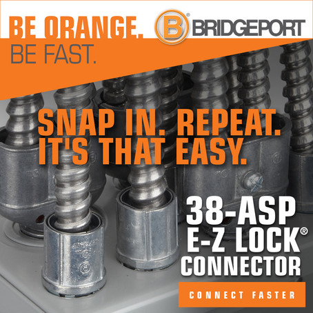 Save Time With Bridgeport Fittings 38-ASP E-Z LOCK Snap-in Connectors