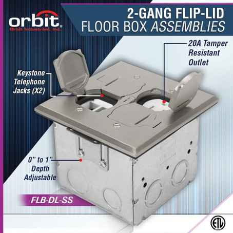 Experience Versatility With Orbit's Adjustable 2-Gang Flip-Type Floor Box Assembly