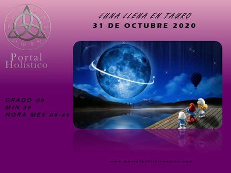 LUNA LLENA EN TAURO 31 DE OCTUBRE 2020 LUNA AZUL