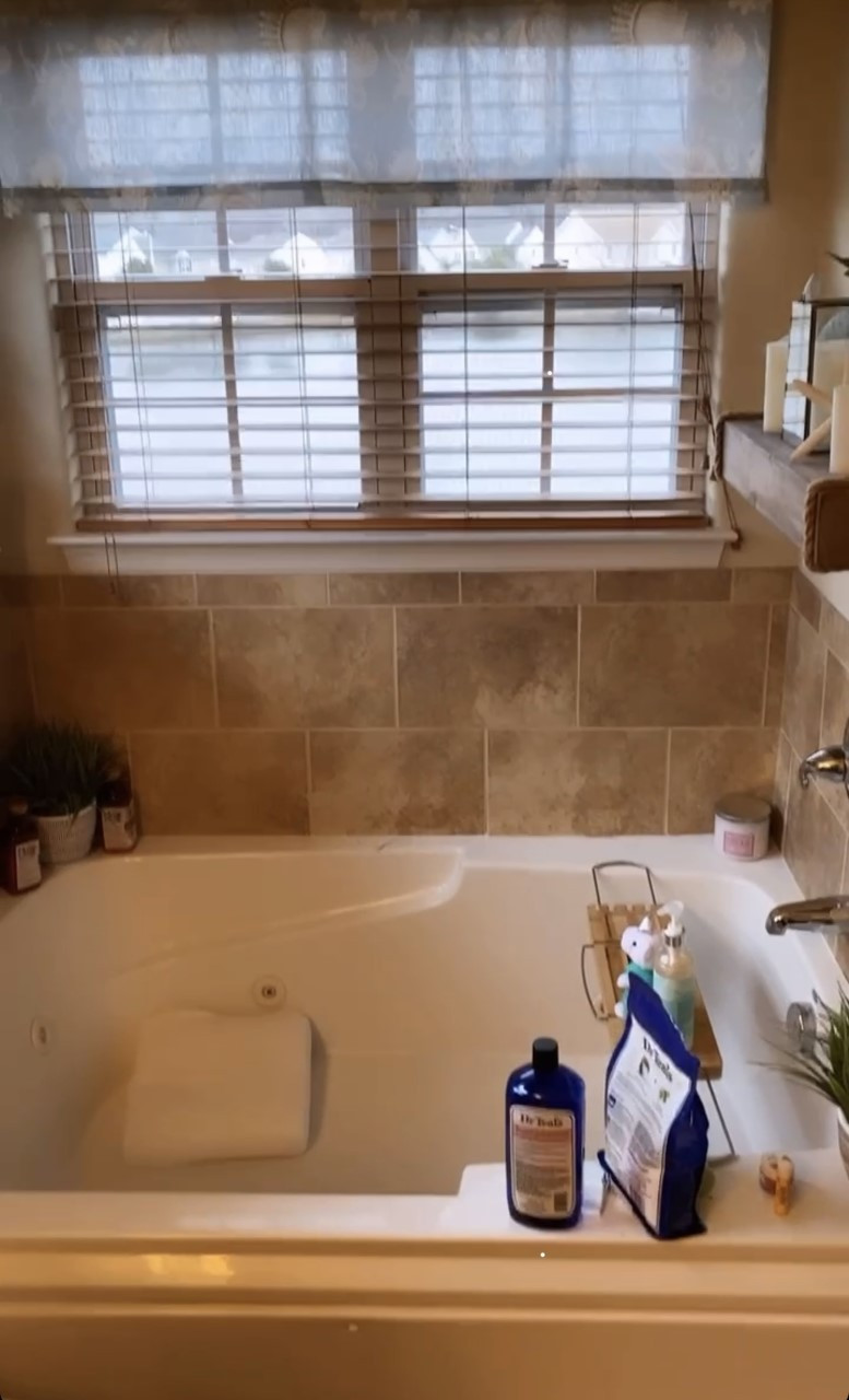 Master Bathroom Refresh, Before Picture. How to make your bathtub look like a luxury spa.