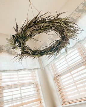 Wreath Chandelier in master bath