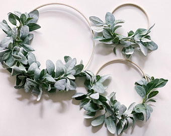 Learn how to make an easy lambs ear wreath without using a glue gun.
