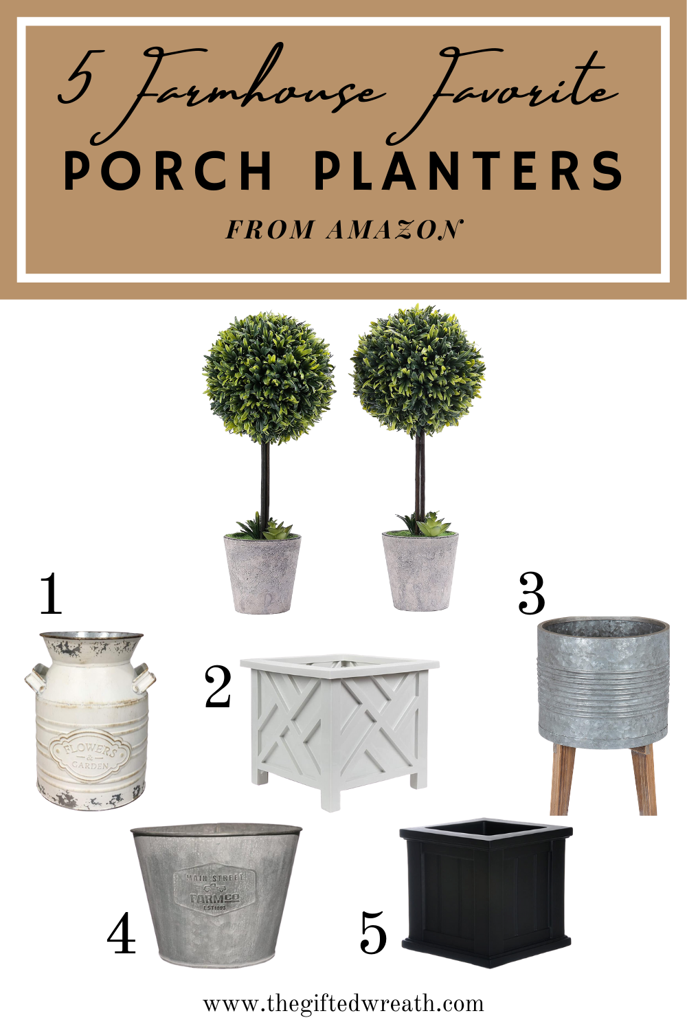 Sharing 5 Farmhouse Favorite Porch Planters from Amazon