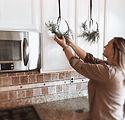 Wreaths on Kitchen Cabinet