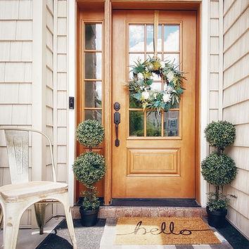 front porch, front door, door wreath