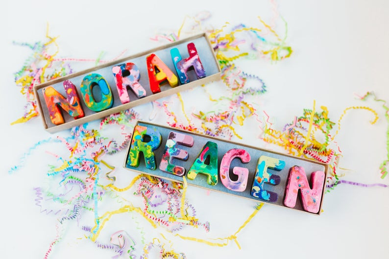 Unique crayon name gifts for kids. Crayon art.