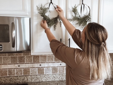Save Time and Money with these Easy Kitchen Cabinet Wreath Hanging Hacks- Without a Measuring Tape