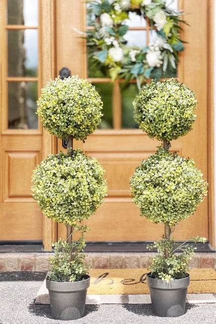 Farmhouse Favorite Faux Topiary Plant and Planters for Front Porch