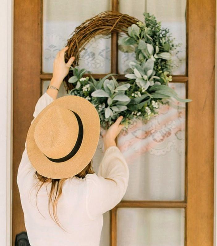 Gorgeous Lambs Ear Wreath Farmhouse Style Front Door Wreath