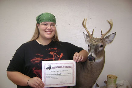 Corissa with First Taxidermy Deer Mount