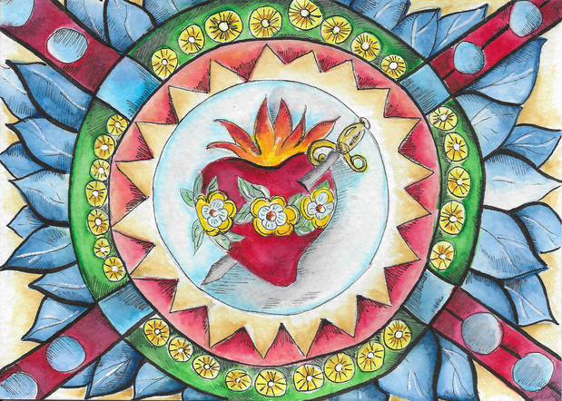 Immaculate Heart Stain Glass - Watercolor