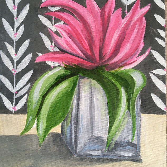 Peony on Canvas Board