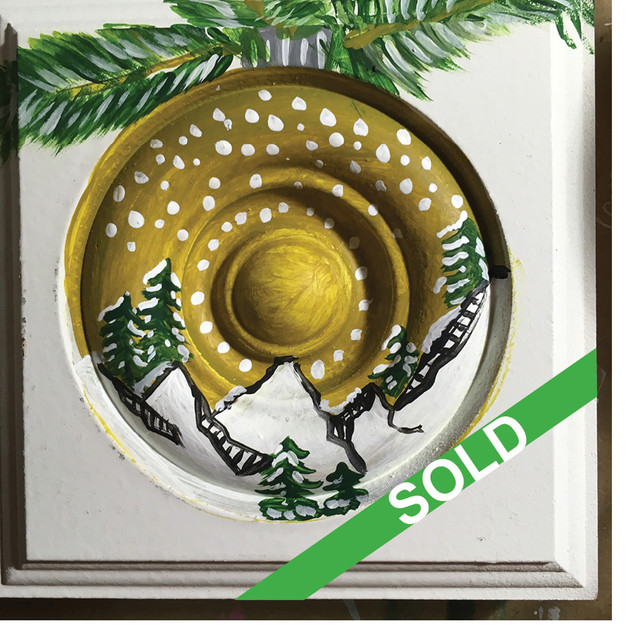 SOLD Rosette: Gold Snow Globe