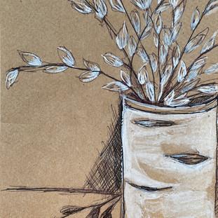 Pussy Willows in Birch Vase