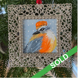 2020 Ornament_Orange Pill Hat Feathered